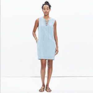 Madewell Chambray Lace-up Shift denim Dress